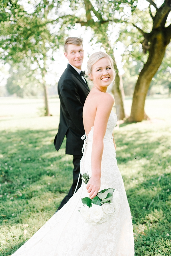 Summer bride and groom at Inn at Warner Hall in Virginia