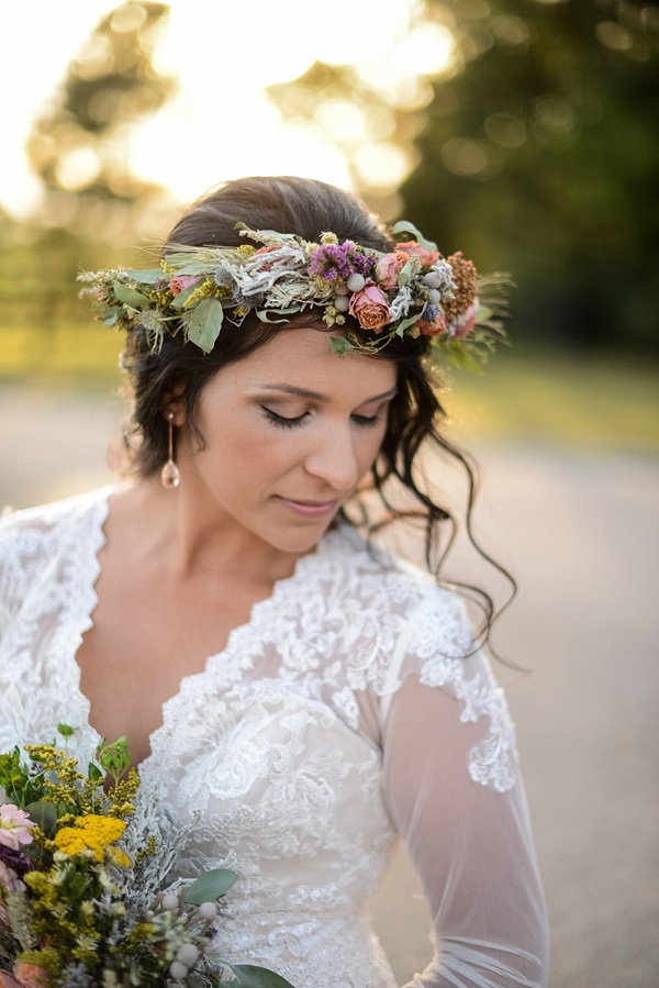 Boho bridal flower crown with wheat and wildflowers