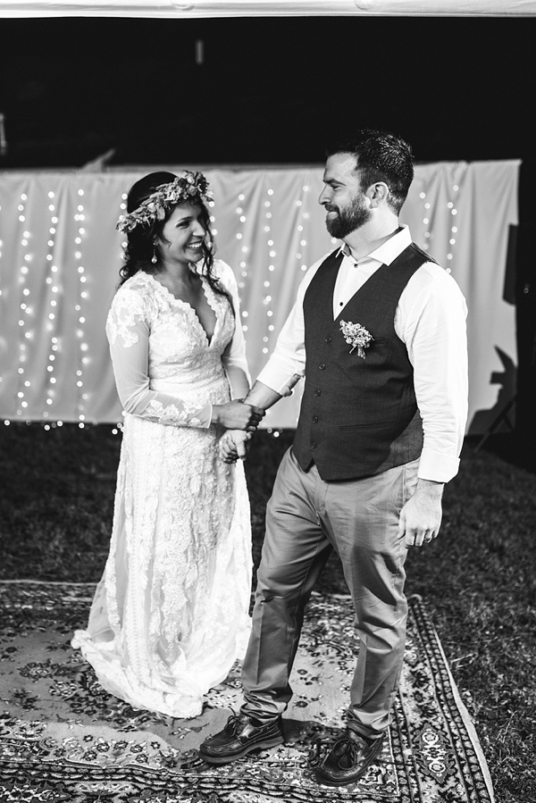 First dance for boho backyard wedding under the stars