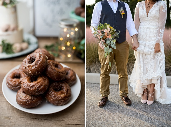 Yummy donuts for backyard wedding dessert table