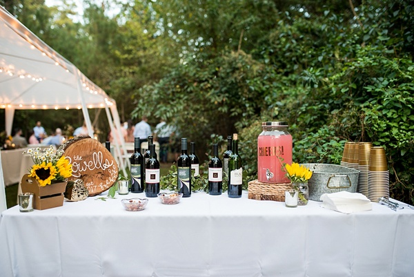 Simple and chic rustic boho wedding drink station