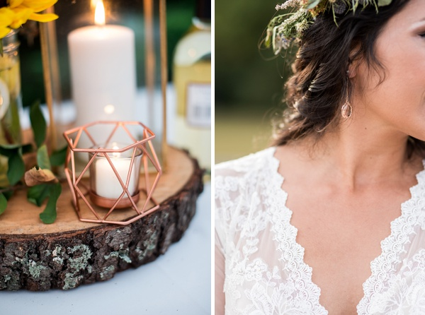 Rose gold details for backyard boho wedding in Virginia
