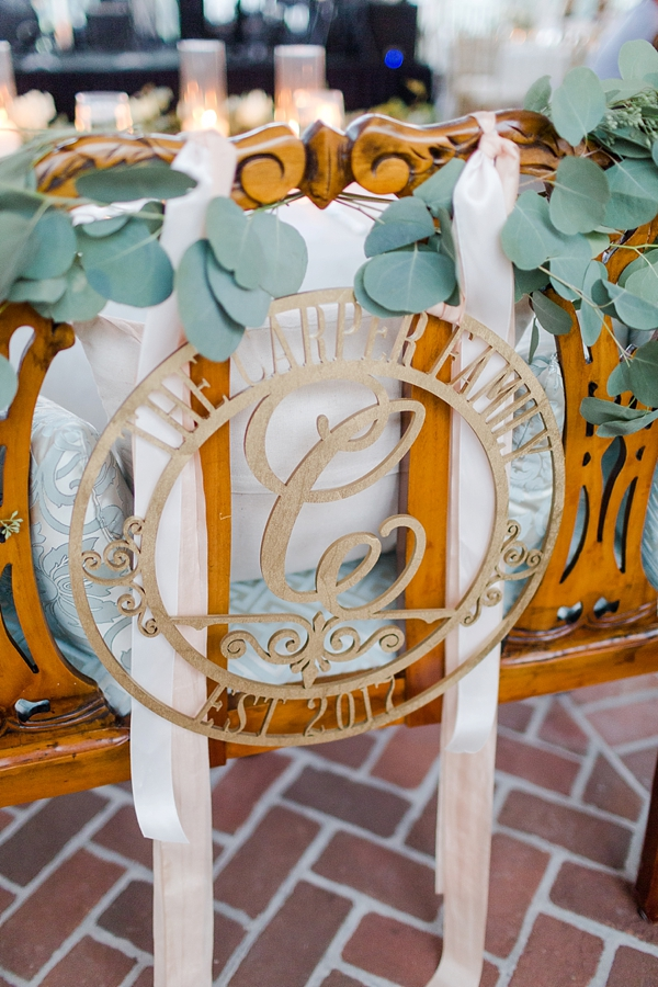Wooden laser cut monogram circle frame for wedding sweetheart table chair