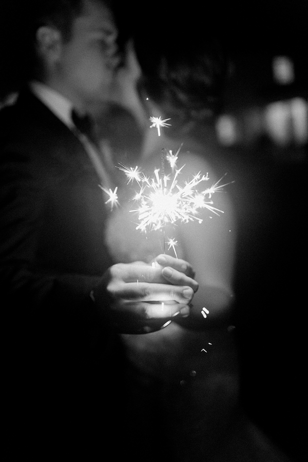 Romantic sparkler exit moment for this bride and groom in Coastal Virginia