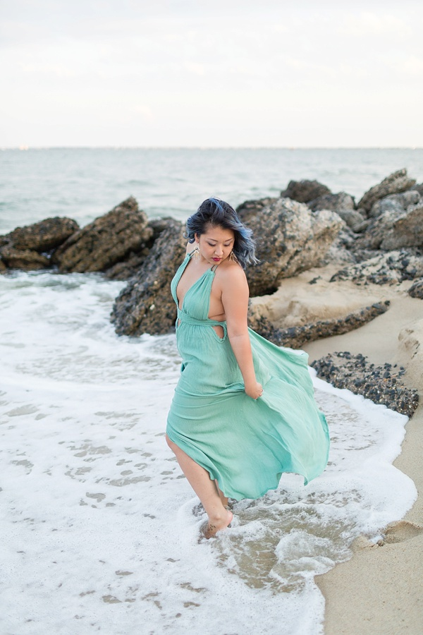 Seafoam green flowy maxi dress for beach engagement session