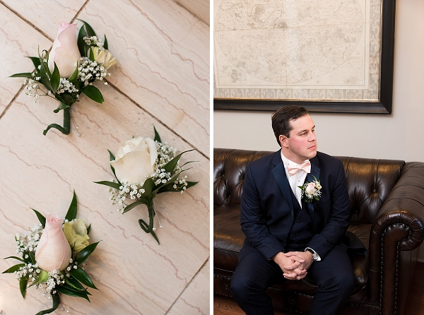 Groomsmen boutonniere with pink roses and babys breath