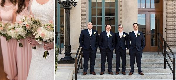 Classic groomsmen in black tuxedos