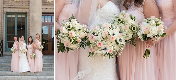 Blush pink and white classic wedding bouquets