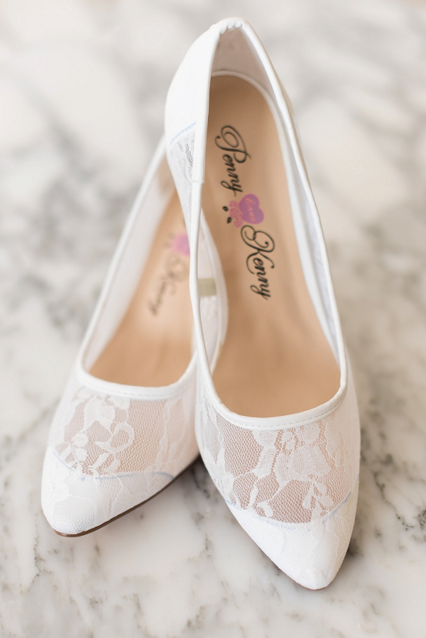 White lace bridal shoes