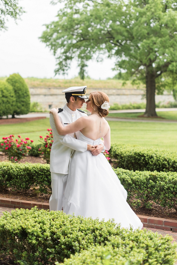 Fort Monroe wedding in Hampton Roads Virginia with groom in dress whites