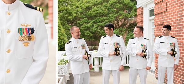 Handsome groom and groomsmen in uniform for Virginia military wedding