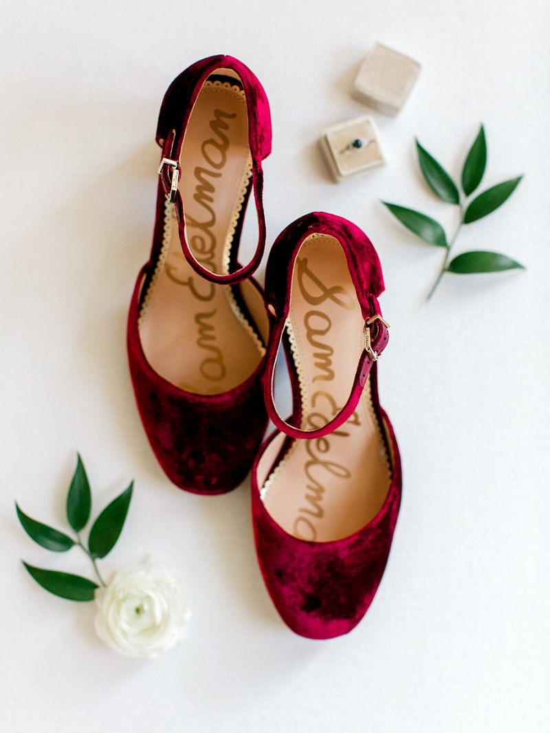 Red velvet wedding shoes for Christmas bride