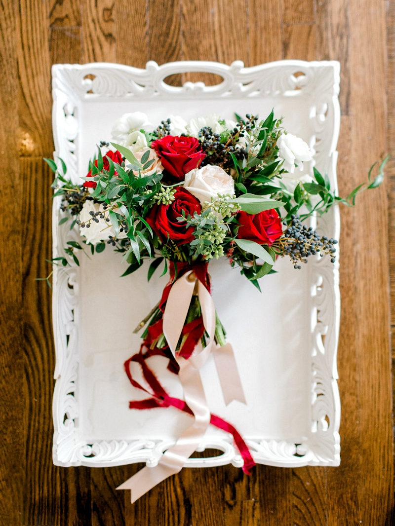 Organic and rustic wedding bouquet with red roses for winter wedding in Hampton Virginia