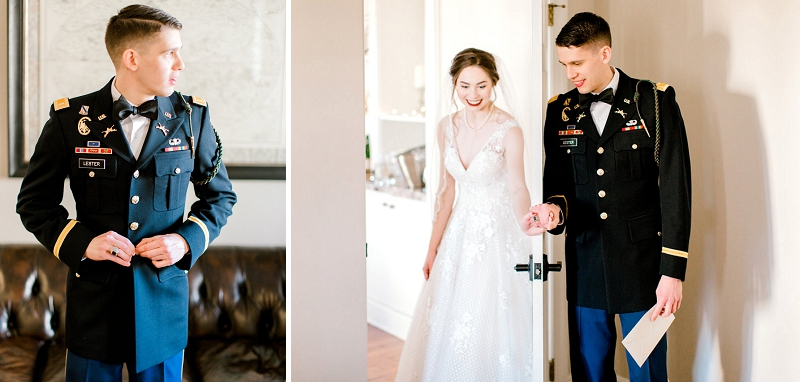 Military Christmas wedding with classic rustic details