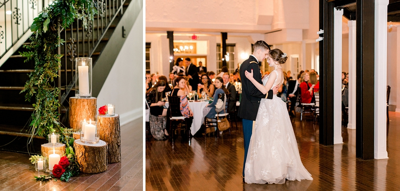 Wood stumps and candlelight for romantic holiday inspired wedding