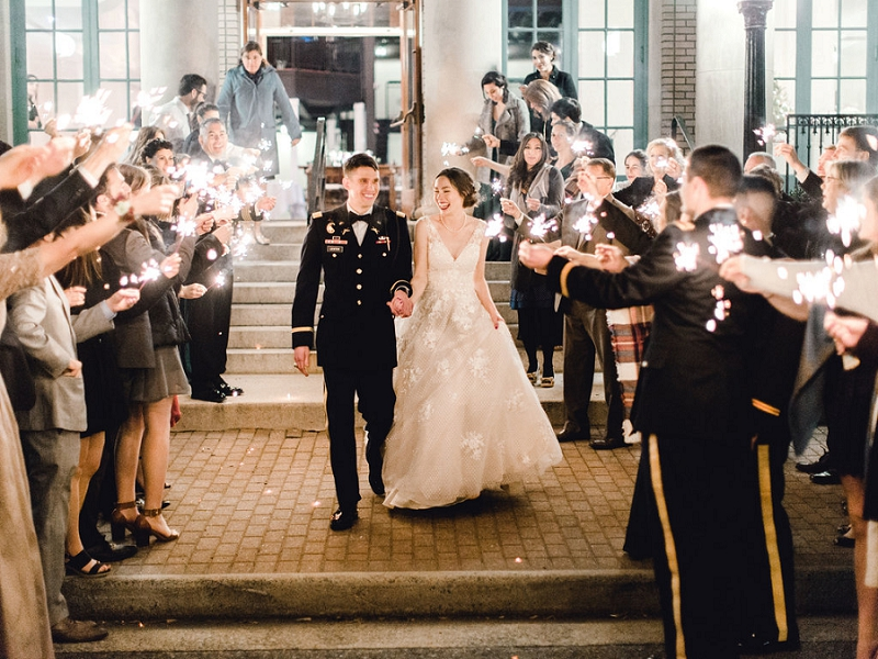 Sparkler exit for holiday inspired wedding in Coastal Virginia