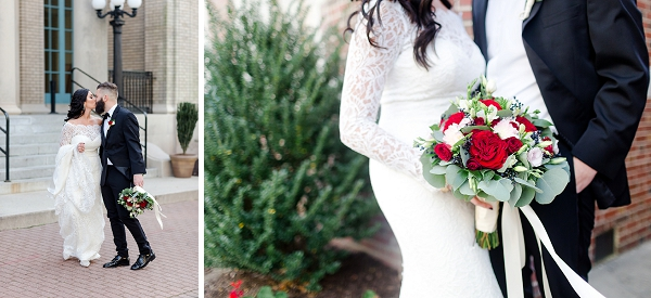 Red and white wedding bouquet in Hampton Roads Virginia