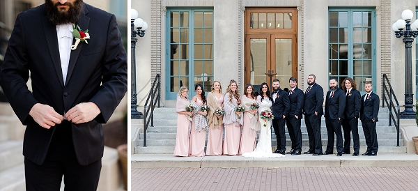 Boho wedding party with modern chic dresses and suits at Historic Post Office in Hampton Virginia