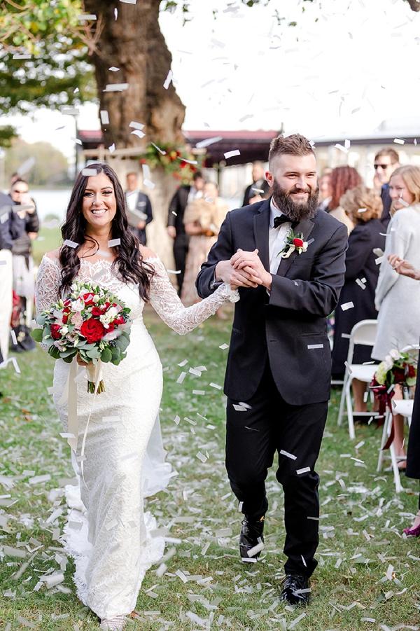 Confetti toss after boho wedding ceremony
