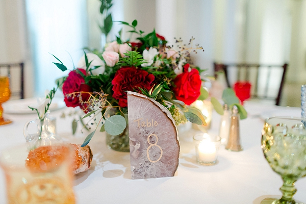Modern agate stone wedding place number