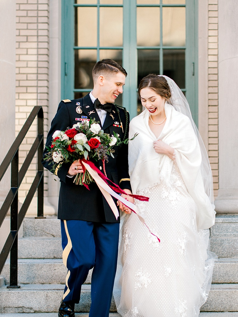 Military Christmas bride and groom at The Historic Post Office in Hampton Virginia