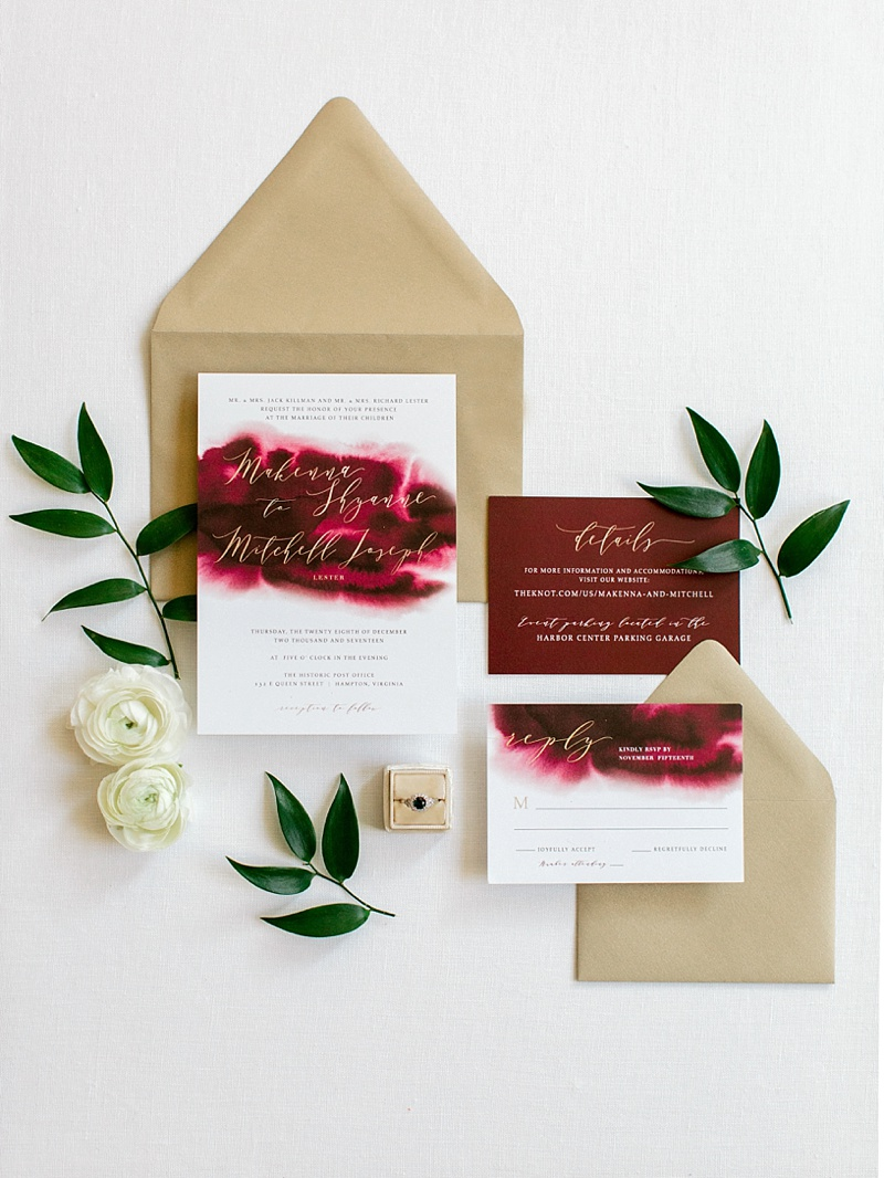 Cranberry red and gold wedding invitations for a festive Virginia winter wedding