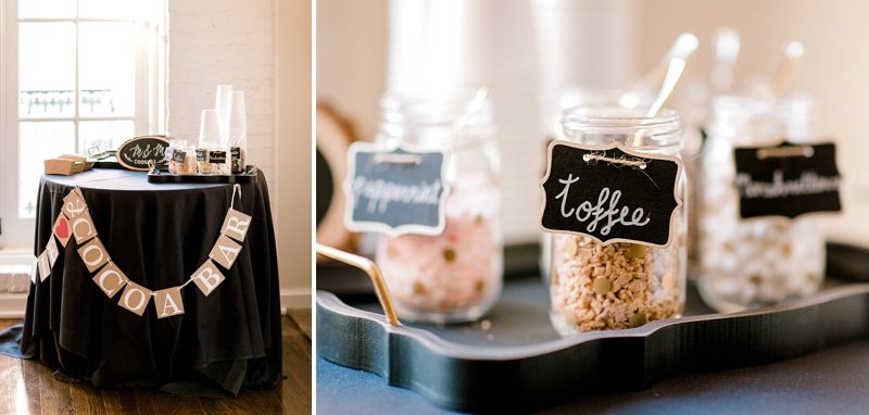 Adorable cookie and cocoa bar for Christmas holiday wedding