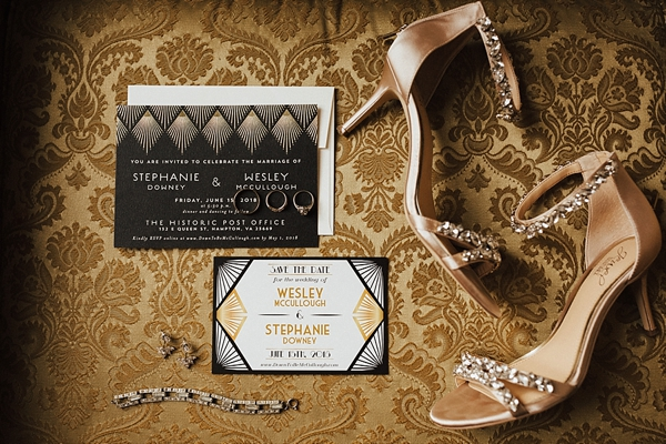 Vintage black and gold Gatsby inspired wedding invitation suite