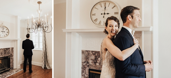 First Look moment with 1920s modern bride and groom in Coastal Virginia