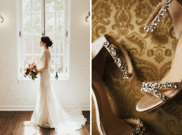 Gold bridal shoes for 1920s Gatsby bride