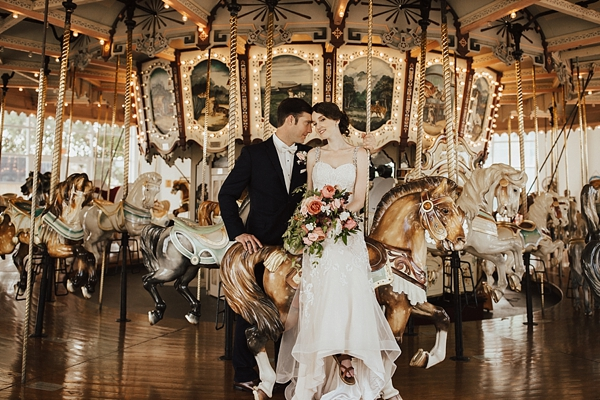 Romantic vintage bride and groom at Hampton Carousel in Virginia