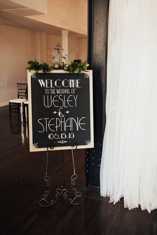 1920s vintage wedding sign inspired by Gatsby lettering