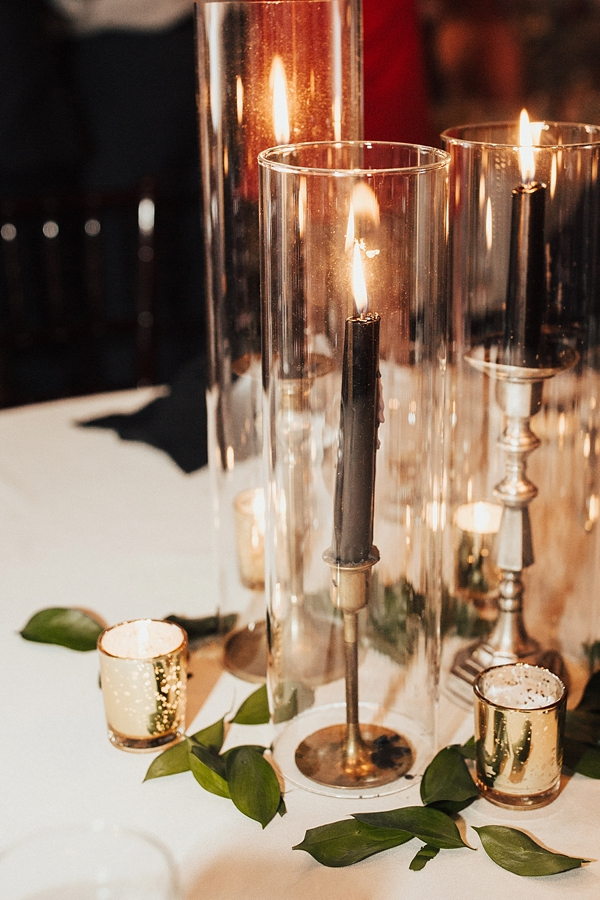 Elegant black candlesticks and gold candlestick holders for Gatsby glam wedding