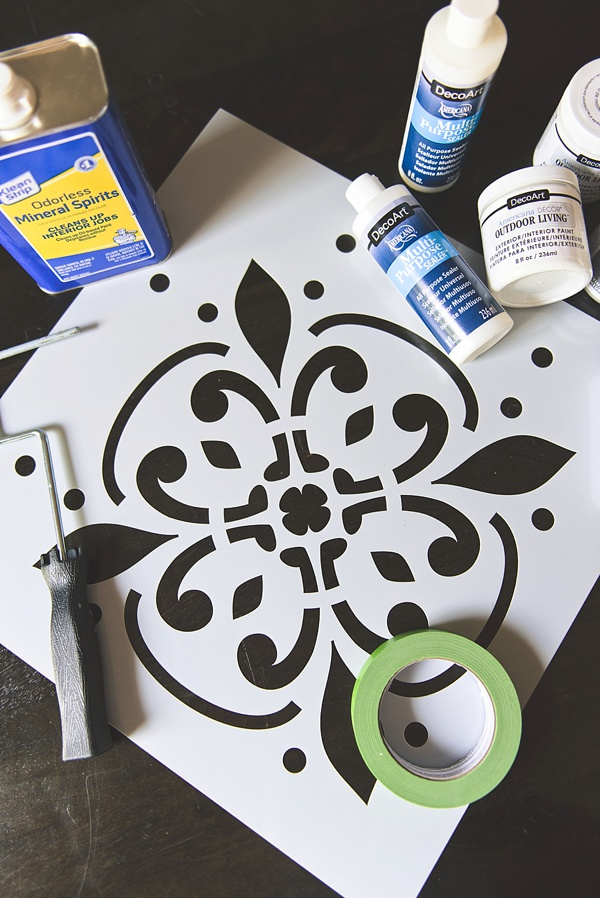 Materials for a DIY painted tile floor