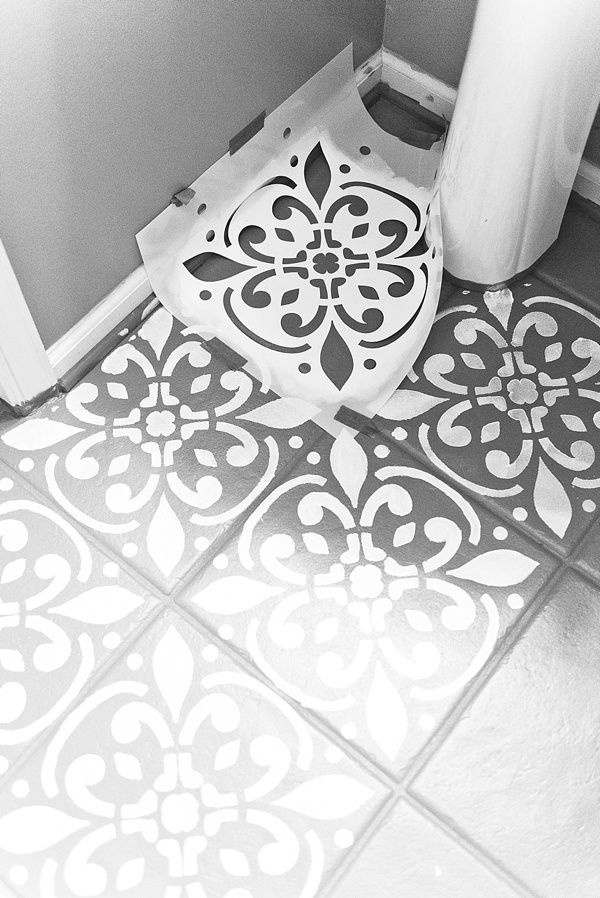 How To Paint Stencil Your Ceramic Floor Tidewater And Tulle