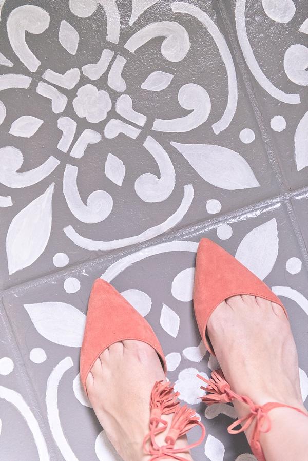 Modern Portuguese tile inspired painted floor