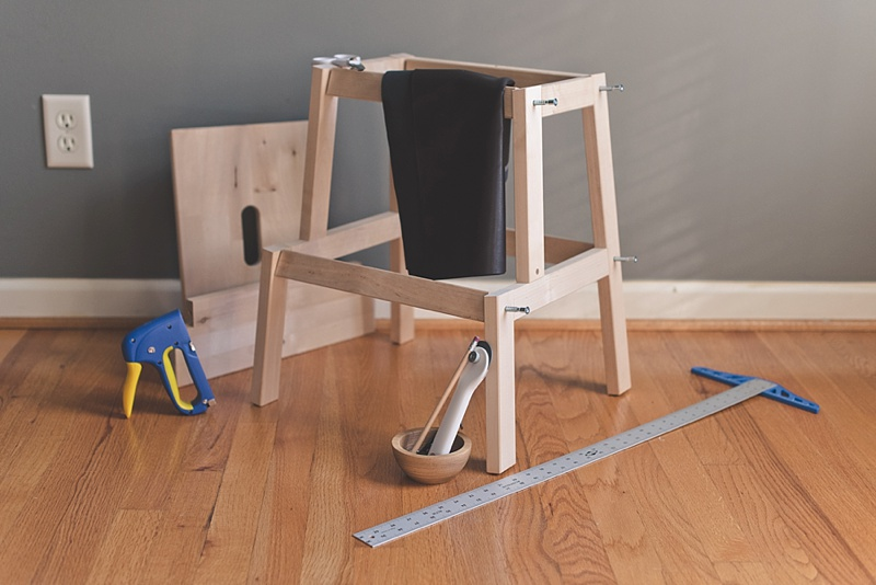 Materials for upgrading a wooden stool from IKEA