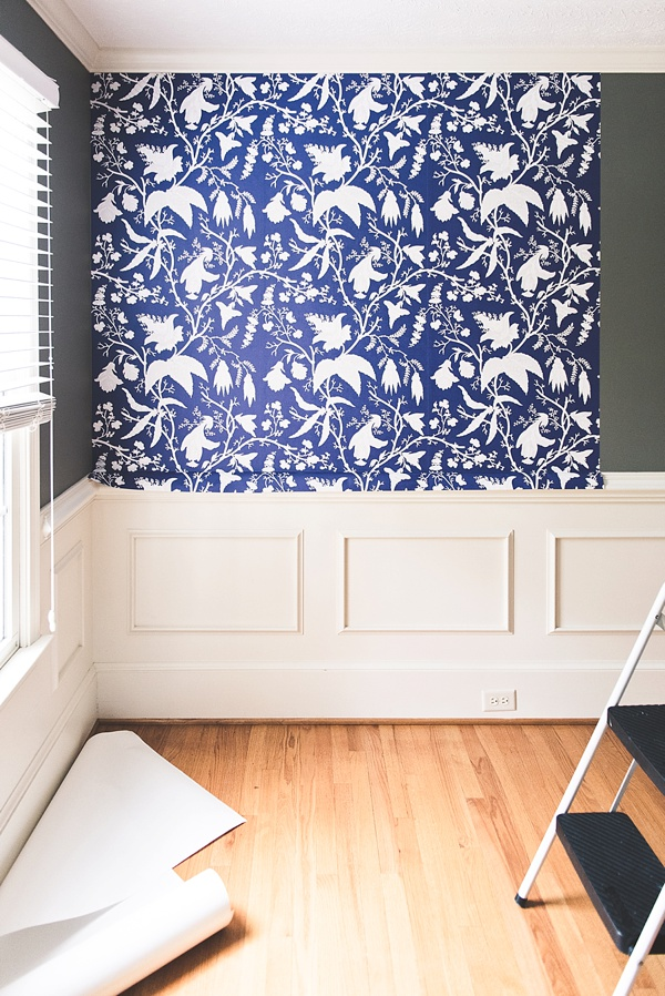 Beautiful modern peel and stick wallpaper for a custom feature wall