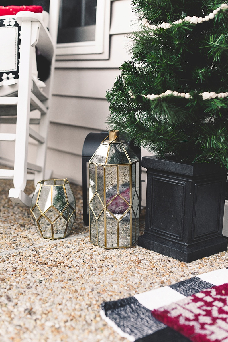 Gold and silver mercury lanterns for a classic modern Christmas front porch look