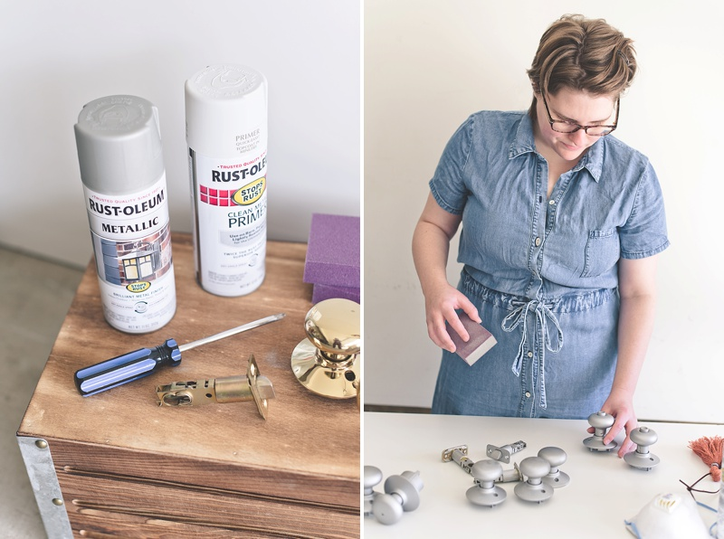 Spray painted door knobs using Rustoleum Metallic Matte Nickel spray paint and clear gloss enamel