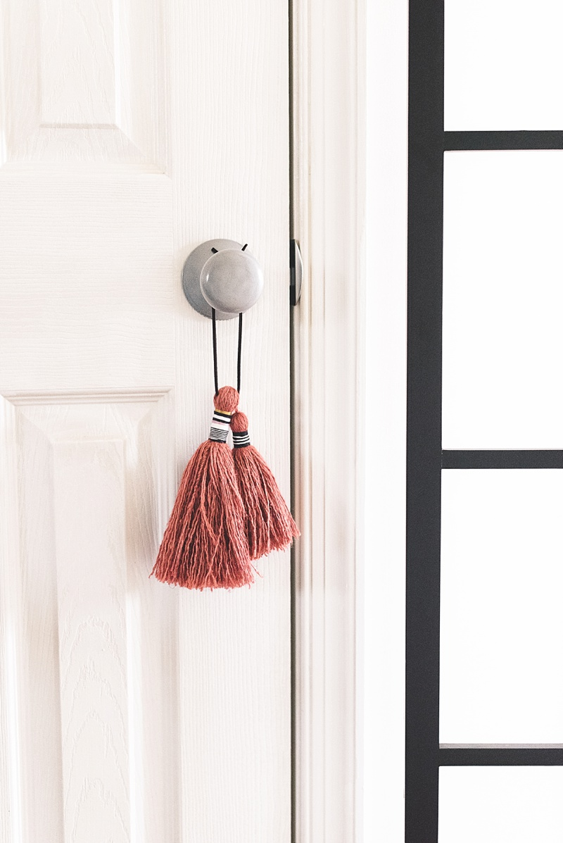 Pretty terracotta colored door tassel for silver door knobs and hardware