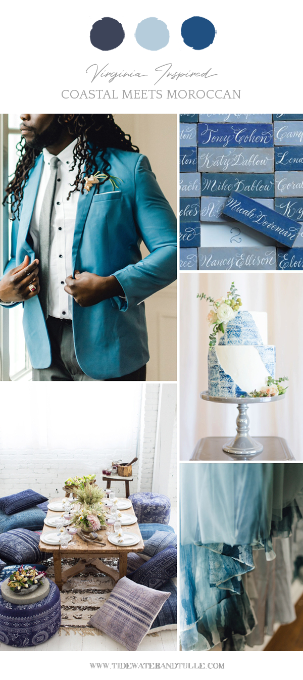 Coastal Moroccan wedding inspiration with blue details