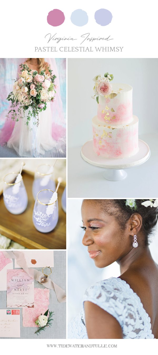 Pastel celestial wedding ideas with iridescence