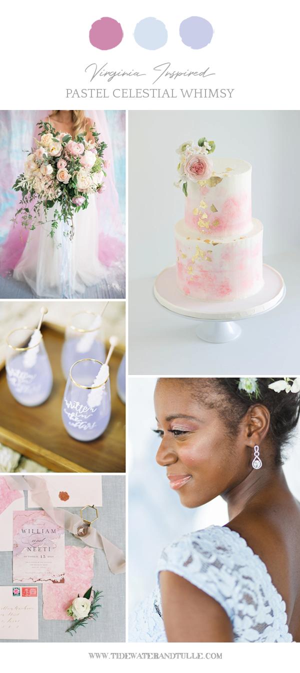 Pastel celestial wedding ideas with iridescence