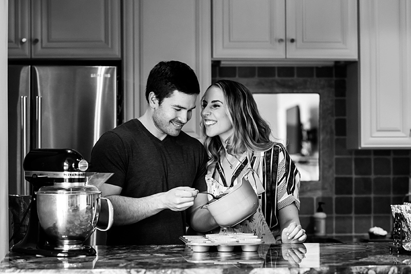 Sweet at home baking engagement photos for a rainy day