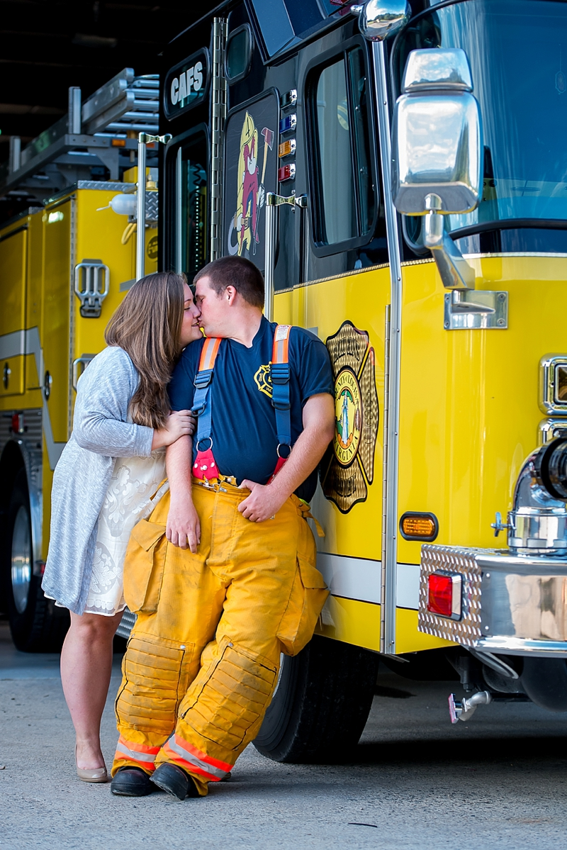 Firefighter engagement session for couples who serve in Virginia