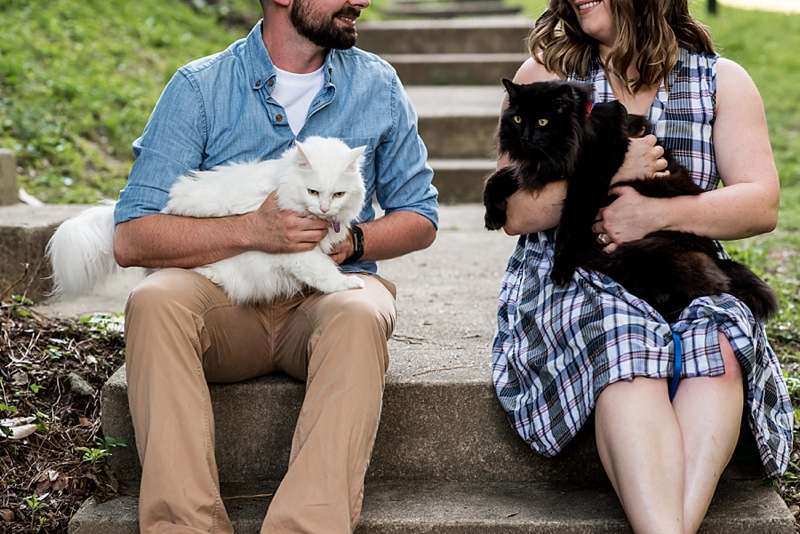 Adorable furbabies for a sweet cat lovers engagement photo shoot in Virginia
