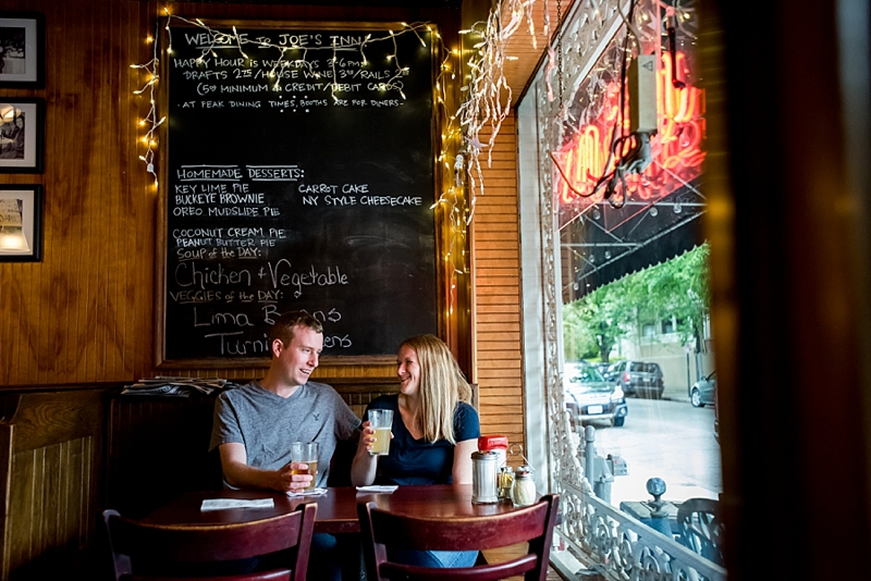 Date night engagement session with drinks and eats in Richmond Virginia