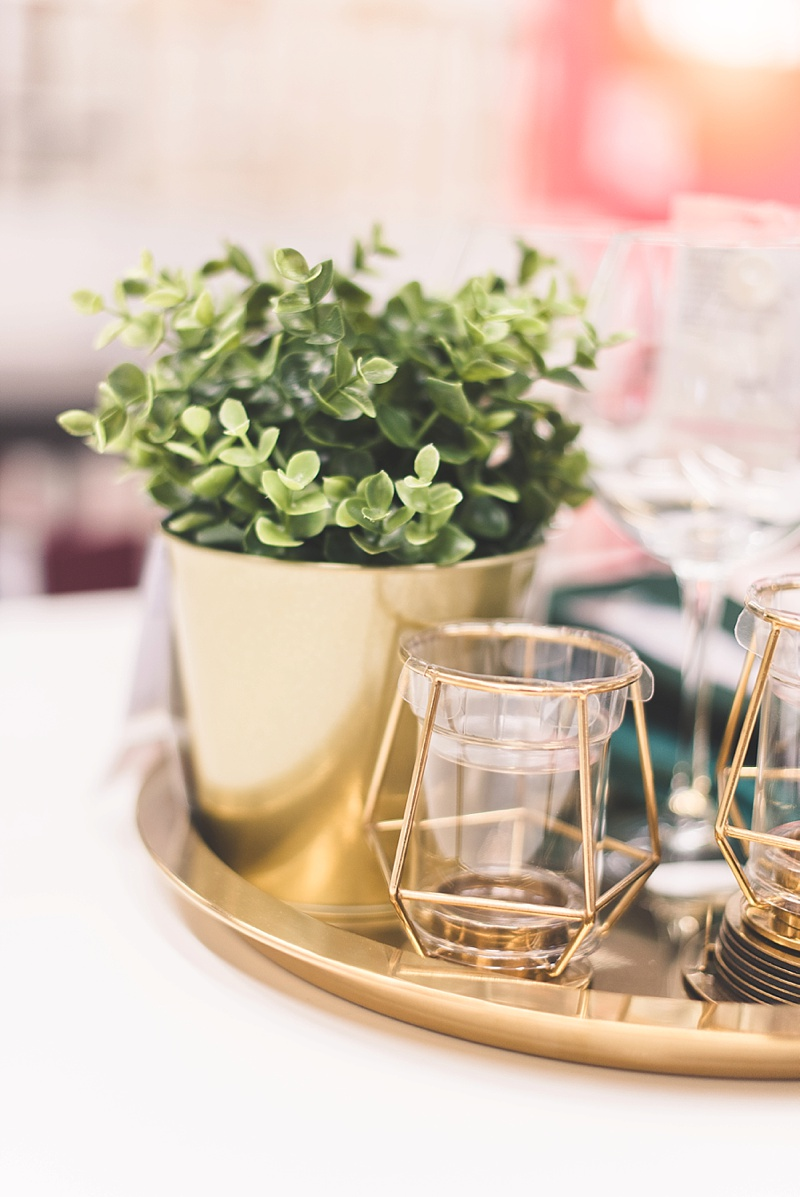 Gold geometric candle holders from IKEA for DIY wedding centerpieces