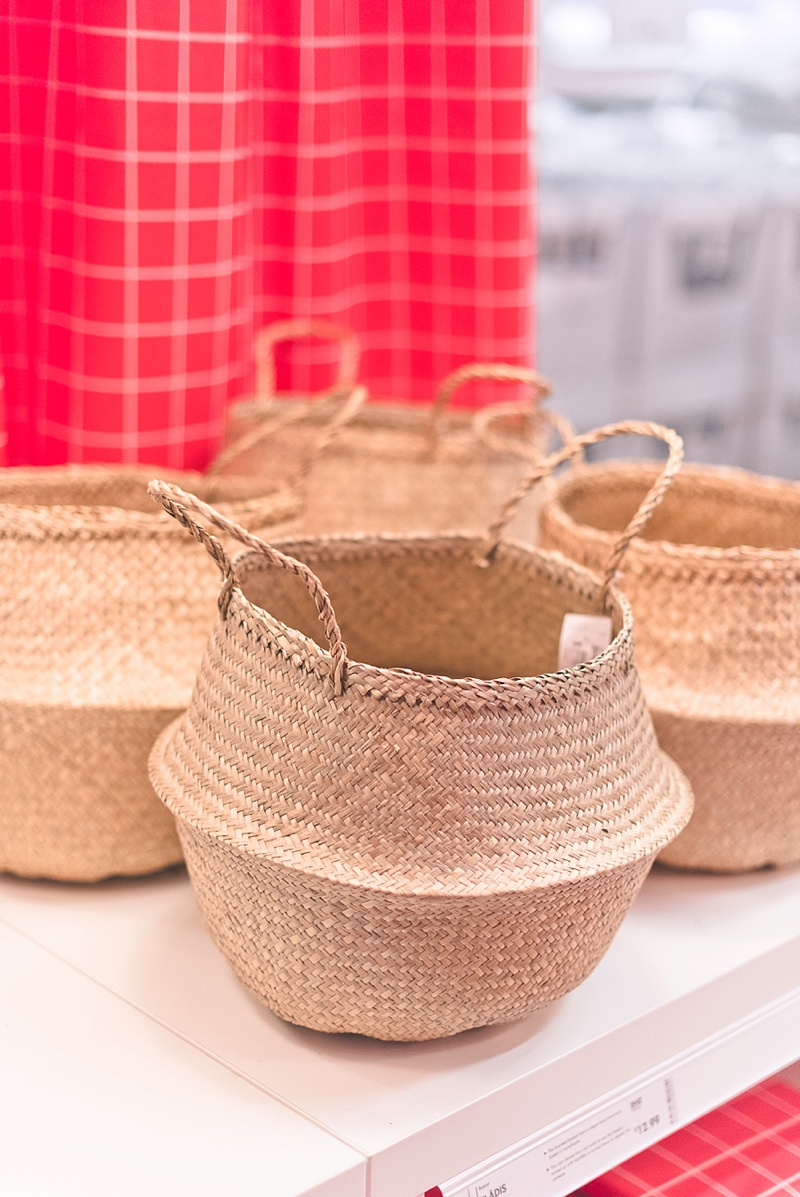Handwoven boho baskets from IKEA perfect for a beach or bohemian wedding
